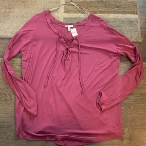 Victoria's Secret Pink lace up long sleeve top